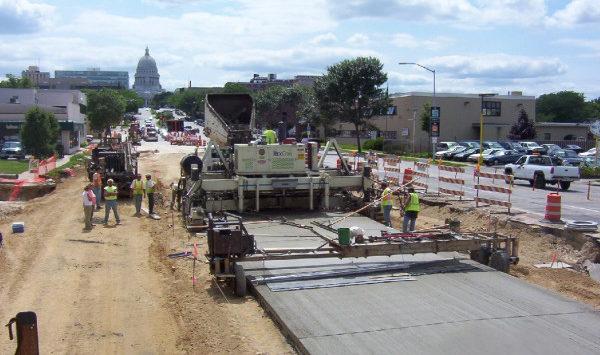 Concrete road under construction
