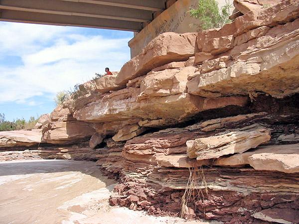 Scour shown in rock at a bridge in southeastern Utah.