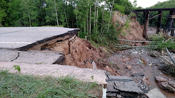 Road closed-Trout Brook Edge of washout facing North