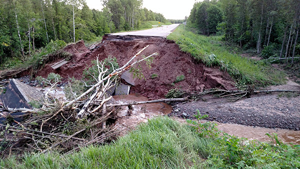 Road closed-Trout Brook Edge of washout facing SE