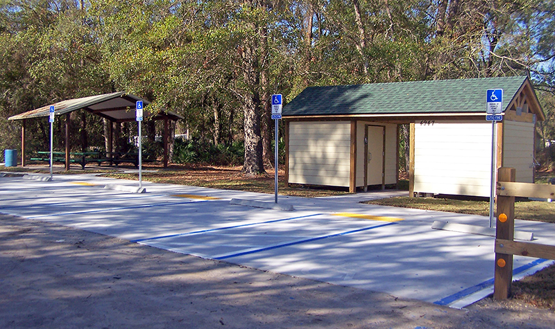Example of parking stalls at Armstrong Park Trailhead in Florida.