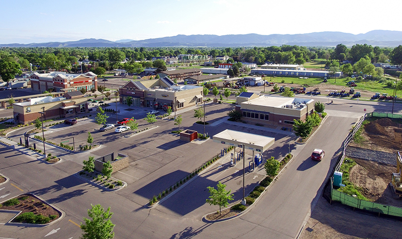 Example of multiple parking solutions at North College Marketplace in Colorado.