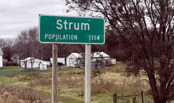 Village of Strum, Wisconsin, sign