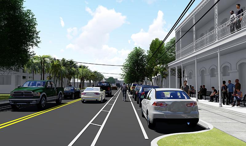 3D rendering of complete street