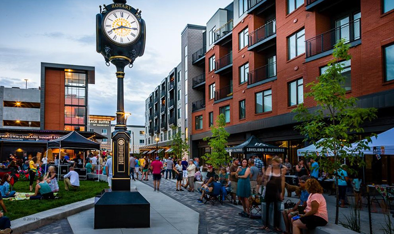 Open air market in Foundry Plaza in Loveland Colorado