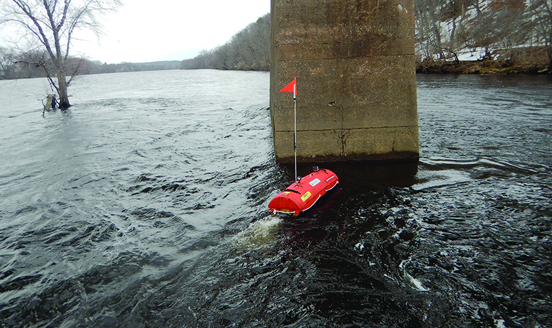 Example of unmanned surface vessel inspecting bridge component