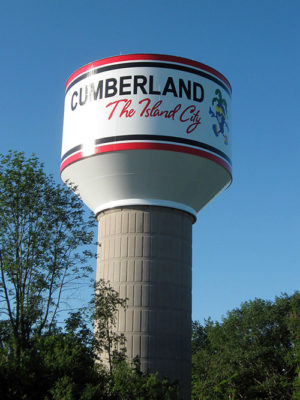 Cumberland, WI, water tower. Ayres designed a new 600,000-gallon composite water tower and 1,700 feet of water main extension for the City of Cumberland, Wisconsin, in 2011.