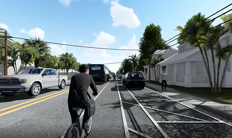 Rendering of a complete street.
