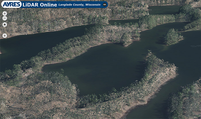 Ayres Lidar Online Web App perspective in Langlade County, WI