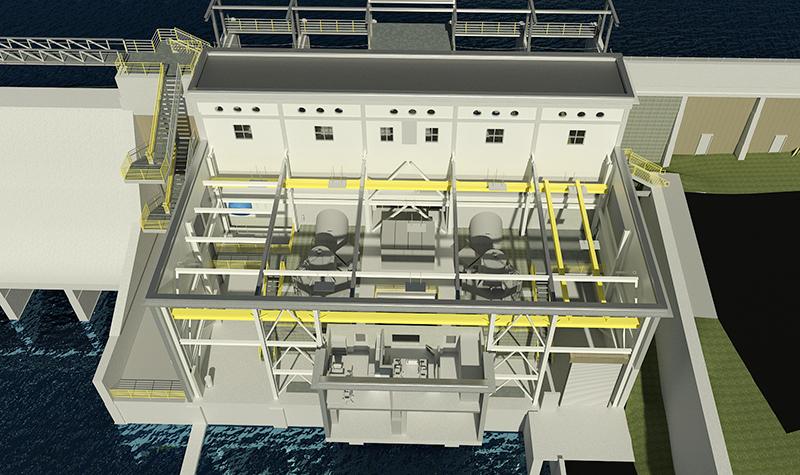 Byllesby Dam East Powerhouse BIM rendering.