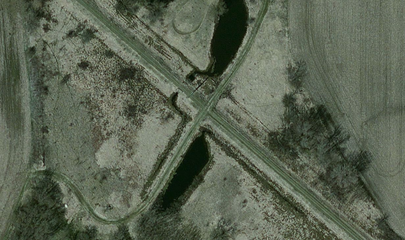 An overview aerial image of a utility line