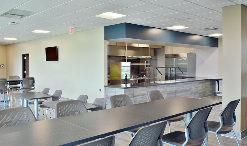 Example of material choice in office cafeteria