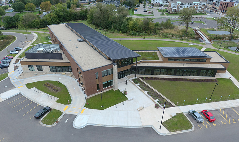 Aerial of Waunakee Public Library.