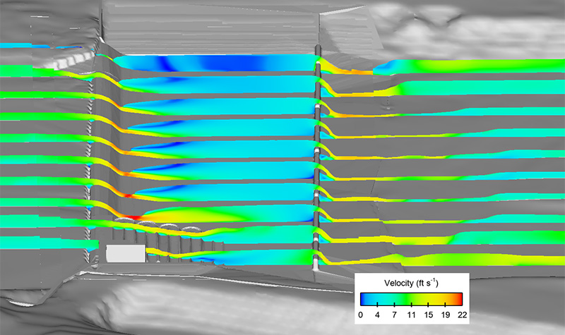 Preliminary design check to verify velocities under a raised tailwater condition at a 2-year event discharge. Velocity cross section slices shown.