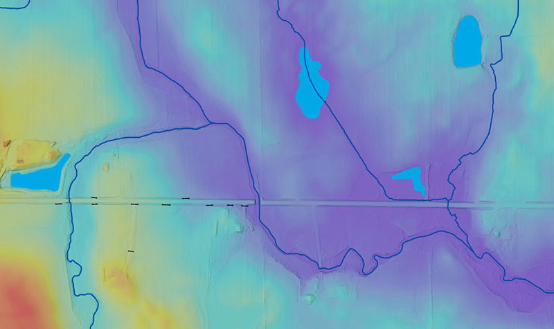Example of elevation-derived hydrography